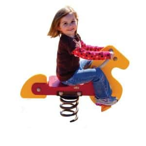 Yellow and Red Playground Commercial Horse Spring Rider