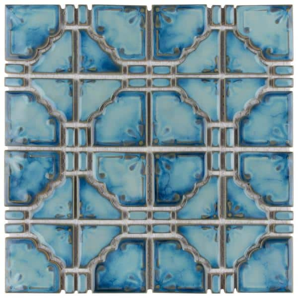Merola Tile Take Home Sample Moonbeam Diva Blue 6 In X Porcelain S1fkomb21 The Depot
