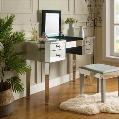 Virgil Mirrored Vanity Table with LED Light and 4-Drawers Lift-Up Top