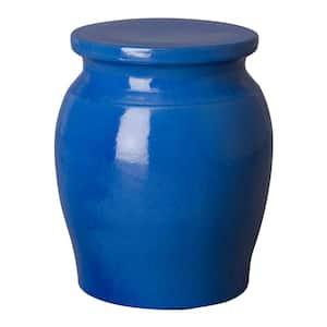 Koji Blue Indoor/Outdoor Ceramic 22 in. Garden Stool