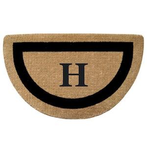 Single Picture Frame Black 22 in. x 36 in. HeavyDuty Coir Half Round Monogrammed H Door Mat