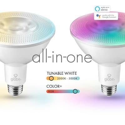 90-Watt Equivalent PAR38 E26 Base Wi-Fi Smart LED Light Bulb Color Changing RGB Tunable White