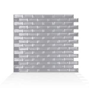 Murano Inox 10.2 in. W x 9.10 in. H Silver Peel and Stick Self-Adhesive Decorative Mosaic Wall Tile Backsplash (4-Pack)