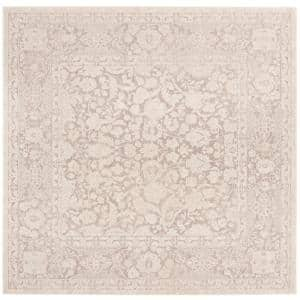 Reflection Beige/Cream 7 ft. x 7 ft. Square Distressed Floral Area Rug