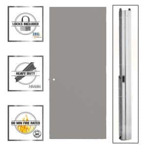 30 in. x 80 in. Gray Left-Hand Flush Entrance Fire Proof Steel Commercial Door with Knockdown Frame