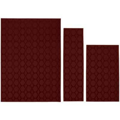 Sparta Chili Red 5 ft. x 7 ft. 3-Piece Rug Set
