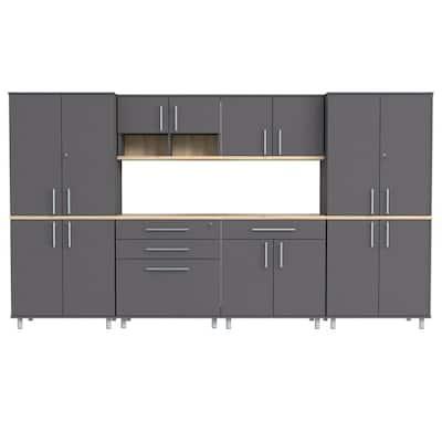 KRATOS 6-Piece Garage Storage System in Dark Gray and Maple (126 in. W x 70.8 in. H x 19.6 in. D)