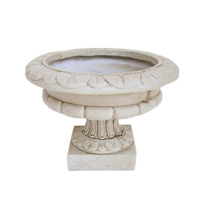 Stefano 11.25 in. x 11.25 in. Antique White Lightweight Concrete Outdoor Garden Urn Planter