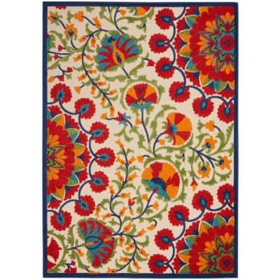 Aloha Easy-Care Red/Multicolor 7 ft. x 10 ft. Floral Modern Indoor/Outdoor Area Rug