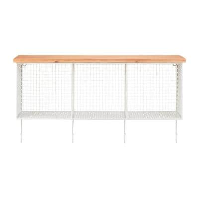 14 in. H x 26 in. W x 7 in. D StyleWell Wood and White Metal Wall-Mount Storage Shelf with 4 Hooks