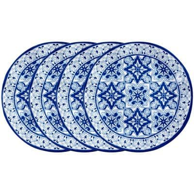 Talavera 4-Piece Traditional Blue Melamine Dinner Plate Set (Service for 4)