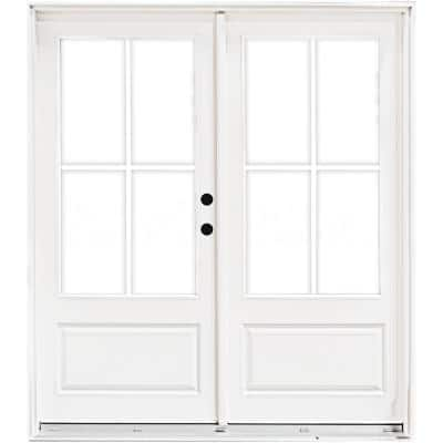 72 in. x 80 in. Fiberglass Smooth White Left-Hand Inswing Hinged 3/4-Lite Patio Door with 4-Lite GBG