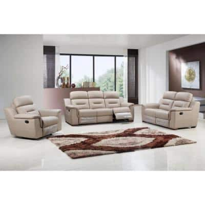 Charlie 200 in. Beige Solid Leather 6 Seater Motion Sofa