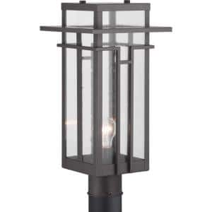 Boxwood Collection 1-Light Antique Bronze Clear Seeded Glass Craftsman Outdoor Post Lantern Light