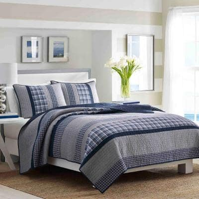 Adelson 1-Piece Navy Blue Striped and Plaid Cotton King Quilt