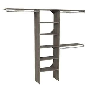 Style+ 73.1 in W - 121.1 in W Coastal Teak Basic Wood Closet System Kit