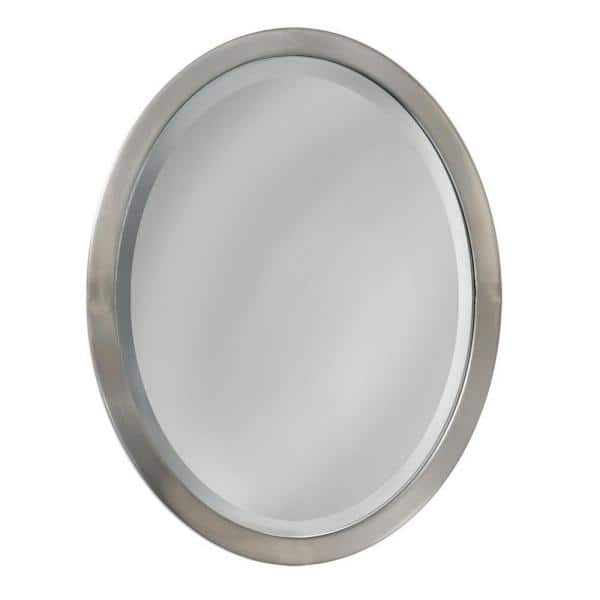 Deco Mirror 23 In W X 29 H Framed, Brushed Stainless Bathroom Mirror