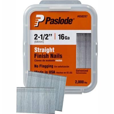 2-1/2 in. x 16-Gauge Galvanized Straight Finish Nails 2000 per Box