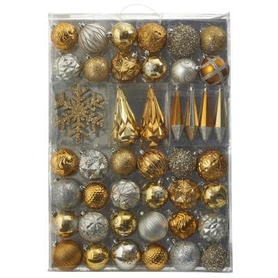 Holiday 3 in. to 6 in. Bronze Shatterproof Christmas Tree Ornament Box Set with Reusable Tray (52-Count)