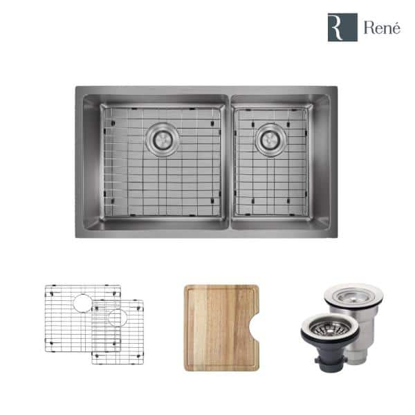 Rene Undermount Stainless Steel 31 1 8 In 60 40 Double Bowl Kitchen Sink Kit R1 1037l 14 The Home Depot