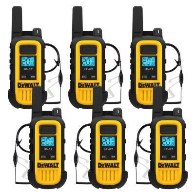 Heavy-Duty 1-Watt Walkie Talkie and Headset Bundle (6-Pack) with 6-Port Gang Charger