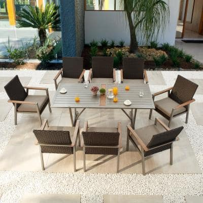 Thermal Transfer 9-Piece Wicker Patio Conversation Set with Khaki Cushions