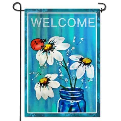 18 in. x 12.5 in. Double Sided Premium Garden Flag Spring Summer Daisy Jar and Ladybug Welcome Garden Flags (2-Pack)