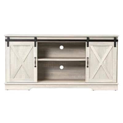 58 in. White Entertainment Center with Sliding Barn Doors Fits TV's up to 65 in. with 2-Adjustable Open Storage Shelves
