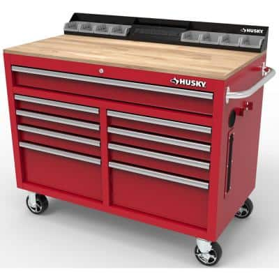 46 in. W x 24.5 in. D 9-Drawer Gloss Red Deep Tool Chest Mobile Workbench with Hardwood Top and Power Station