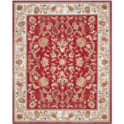 Easy Care Red/Ivory 9 ft. x 12 ft. Border Area Rug