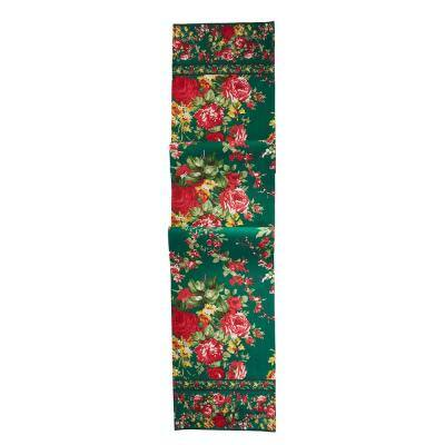 Cottage Rose 13 in. x 72 in. Green Floral Cotton Table Runner