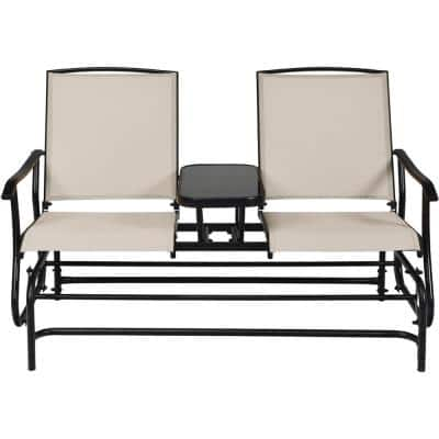 Beige Metal Outdoor Loveseat with Center Table
