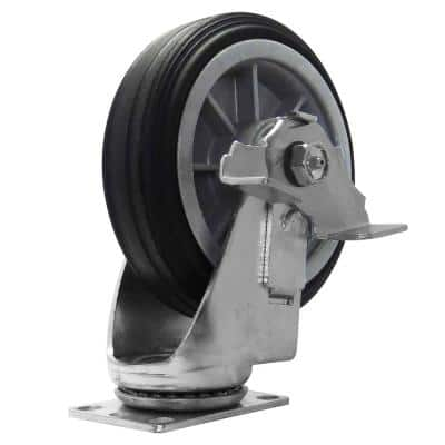 6 in. All-Terrain Solid Rubber Swivel Caster with Brake