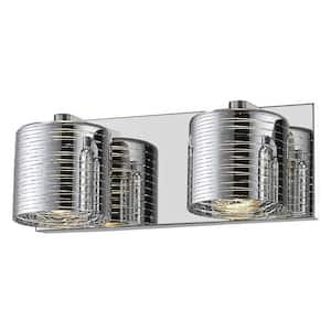 Sevier 2-Light Chrome Bath Light with Chrome Glass Shade