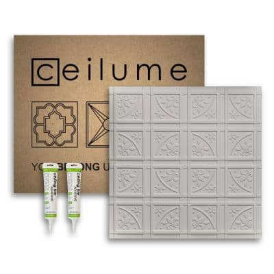 Lafayette 2 ft. x 2 ft. Glue Up Vinyl Ceiling Tile and Backsplash Kit in Stone (21 sq. ft./case)