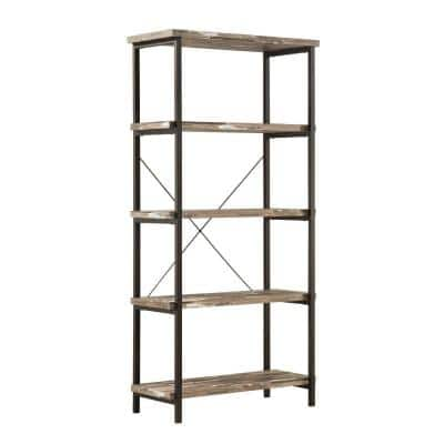 70.75 in. Brown/Black Metal 5-shelf Standard Bookcase with Open Back