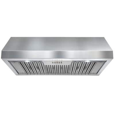 36 in. 600 CFM Ducted Under Cabinet Range Hood in Stainless Steel with LEDs and Push Buttons