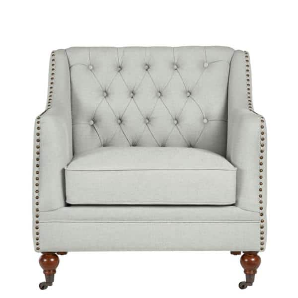 Home Decorators Collection Kennison Evere Willow Green Wood Accent Chair with  Tufting and Nailhead Trim (32.68 in. W x 32.28 in. H)   The Home Depot