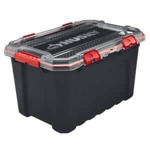 20 Gal. Professional Duty Waterproof Storage Container with Hinged Lid in Black