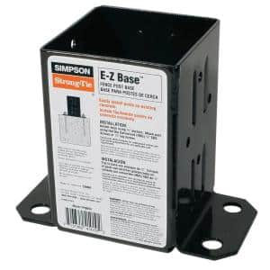 E-Z Base Black Powder-Coated Post Base for 4x4 Nominal Lumber