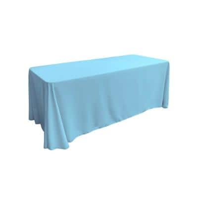 90 in. x 156 in. Light Turquoise Polyester Poplin Rectangular Tablecloth