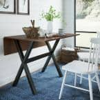 Kalos Solid Wood Drop Leaf Folding Kitchen Dining or Console Table Brown Top and Legs