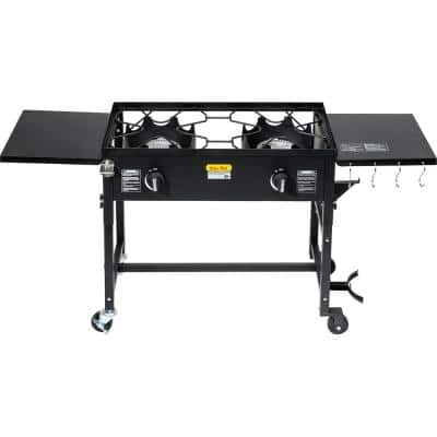 58,000 BTU Outdoor Camping Propane Double Burner Stove Cooking Station with Drop-Down Side Tables