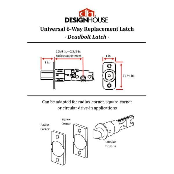 Design House Universal Satin Nickel 6 Way Replacement Deadbolt Latch 783332 The Home Depot