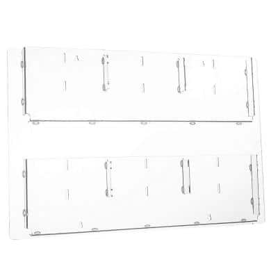 29 in. x 23 in. Adjustable Pockets Clear Acrylic Hanging Magazine Rack