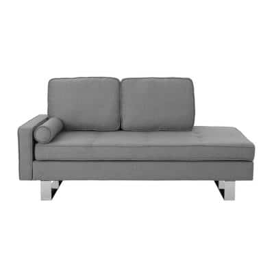 Typhaine 65.3 in. Gray/Silver Polyester 3 Seater Chaise Loveseat with Chrome Legs