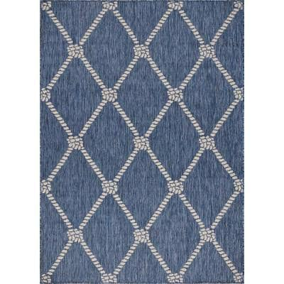 Nautical Navy Blue / White 5 ft. 3 in. x 7 ft. Knot Polypropylene Indoor/Outdoor Area Rug