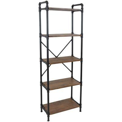 71 in. Teak 5-Shelf Standard Bookcase with Black Pipe