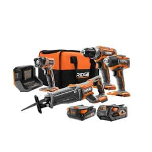 18V Brushless Cordless 4-Tool Combo Kit with (1) 2.0Ah Battery, (1) 4.0 Battery, Charger and Bag