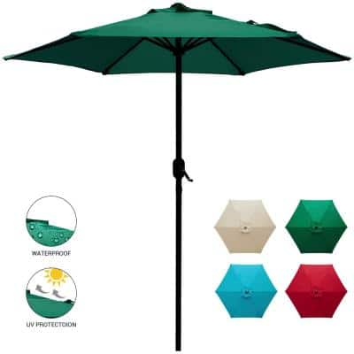 7.5 ft. Market Patio Umbrella Table with Push Button Tilt and Crank in Dark Green